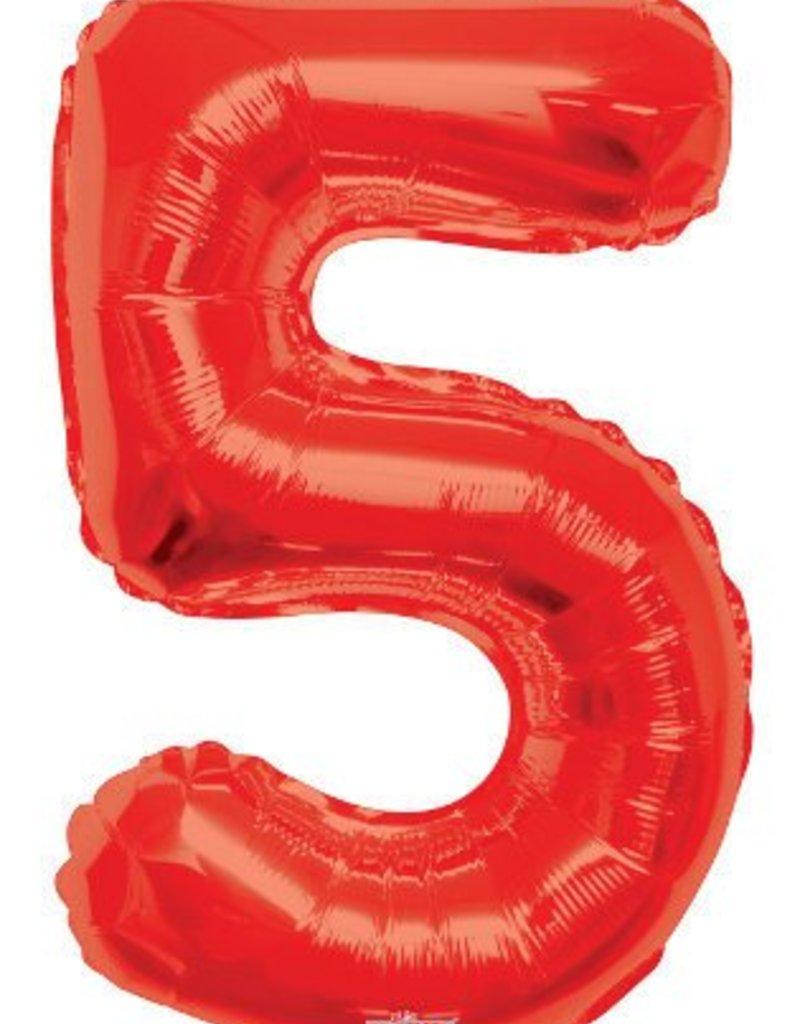 """34"""" Red Jumbo Number 5 Balloon"""