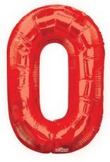 """34"""" Red Jumbo Number 0 Balloon"""