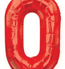 "34"" Red Jumbo Number 0 Balloon"