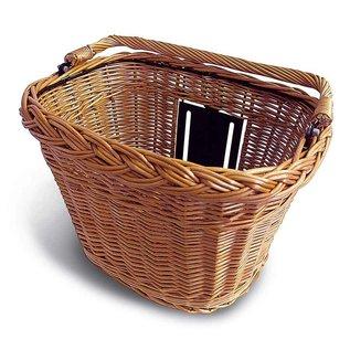Basil Simply Wicker Front Basket - Varnished Natural