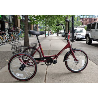Worksman Worksman Port-o-trike Adult Tricycle - Foldable - 1 spd - Cranberry