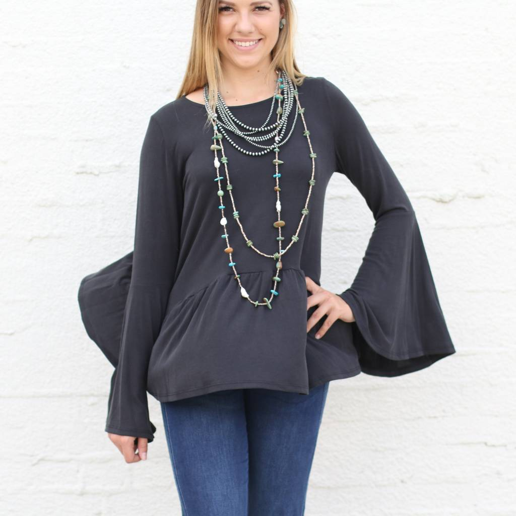 Punchy's Black Bell Sleeve Babydoll Top