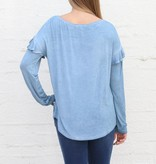 Punchy's LT Denim Mineral Washed Ruffle Long Sleeve Basic Top