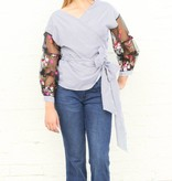 Punchy's Pinstripe and Floral Sleeve Wrap Blouse