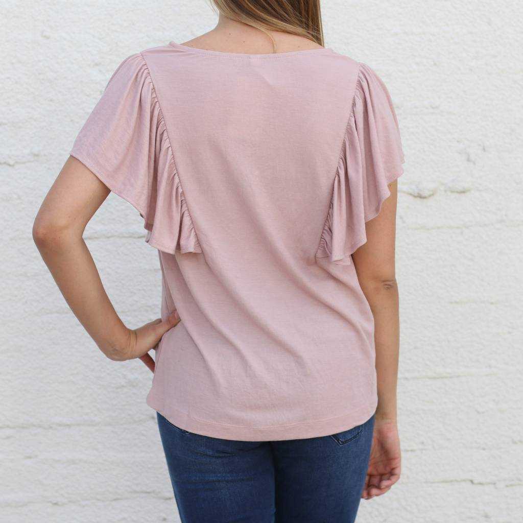9dc7c49d335f1 Dusty Rose Ruffle Front Blouse