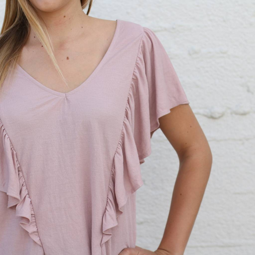 0b6b955cb7688 ... Punchy s Dusty Rose Ruffle Front Blouse ...