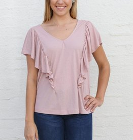 Punchy's Dusty Rose Ruffle Front Blouse