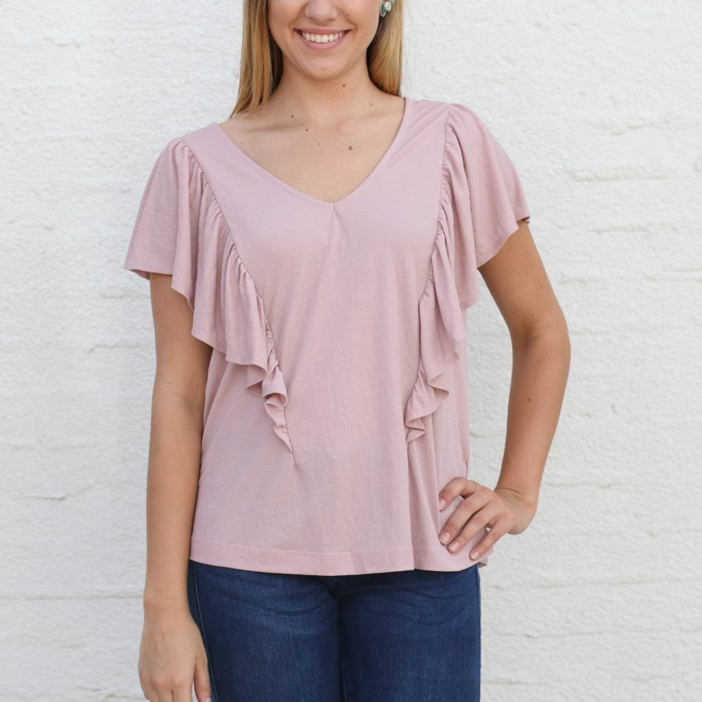 Dusty Rose Ruffle Front Blouse Punchy S Usa Punchy S
