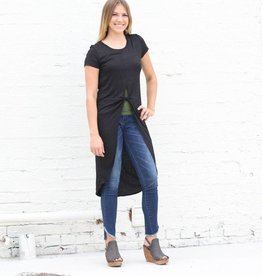 Punchy's Black Knotted High Low Basic Tee