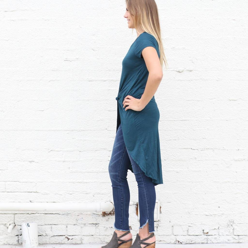 Punchy's Dark Green Knotted High Low Basic Tee
