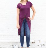 Punchy's Purple Knotted High Low Basic Tee