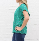 Punchy's Green Cactus Flutter Sleeve Blouse
