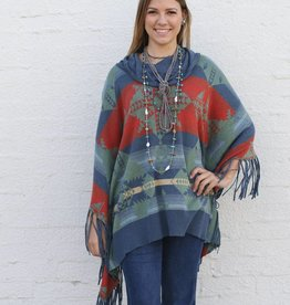 Knit Cowl Neck Adobe Fringe Poncho