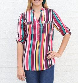 Multi Stripe 3/4 Sleeve Blouse