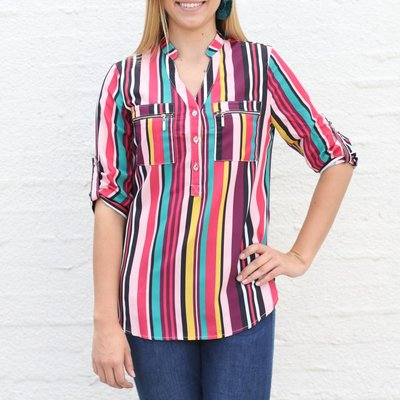 Punchy's Multi Stripe 3/4 Sleeve Blouse
