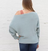 Punchy's Mint Waffle Knit Slouchy Boat Neck Sweater