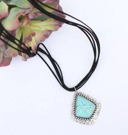 Punchy's 5 Strand Black Leather Necklace Large Turquoise Stone Pendant