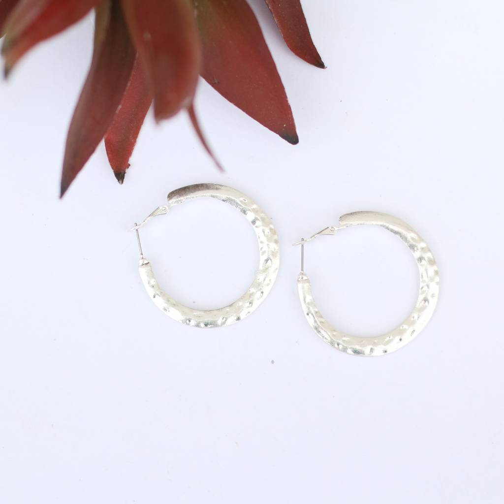 Punchy's Burnished Silver Hammered Hoop Earring