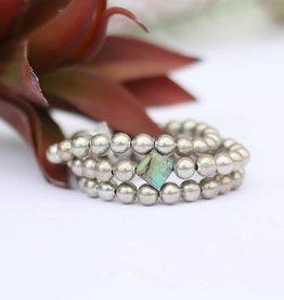 Punchy's 3 Strand Burnished Silver Bracelet Diamond Turquoise Bead