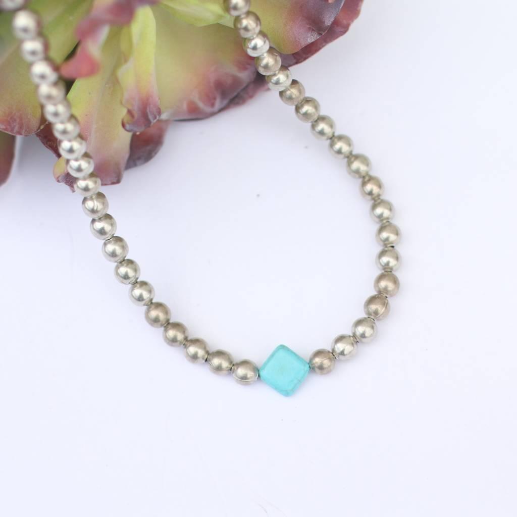 "Punchy's 16"" Burnished Silver Necklace Diamond Stone"