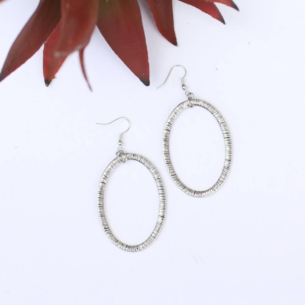 Punchy's Tribal Design Silver Hoop