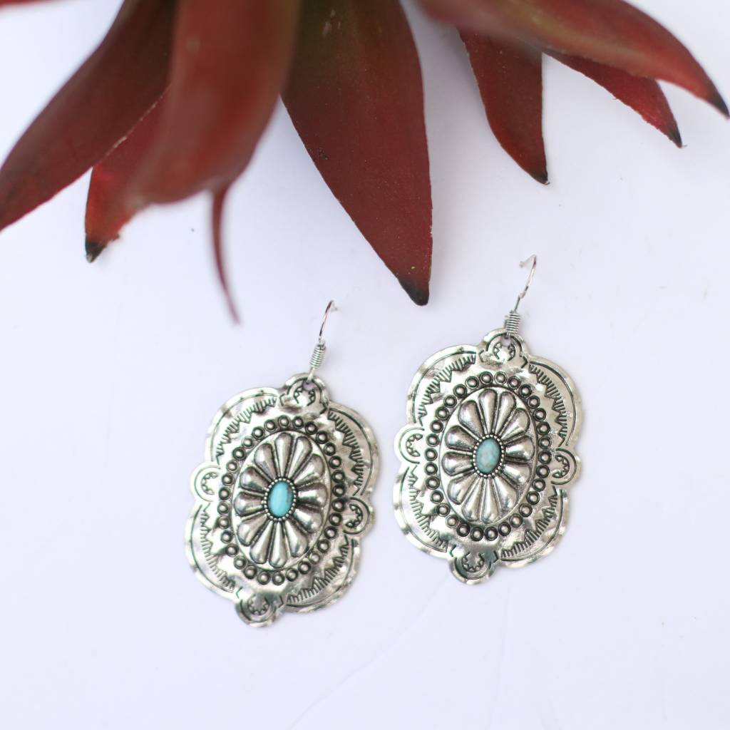 Punchy's Burnished Silver Concho Turquoise Stone Earring
