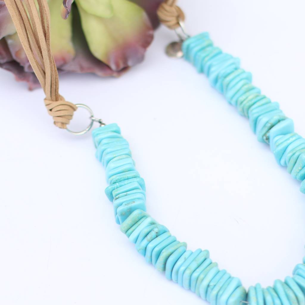 Punchy's 8 Strand Tan Leather With Turquoise Bead
