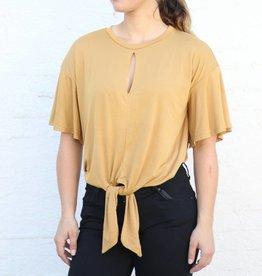 Mustard Front Tie Bodysuit