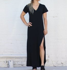 Punchy's Snap Slit V Neck Black Maxi