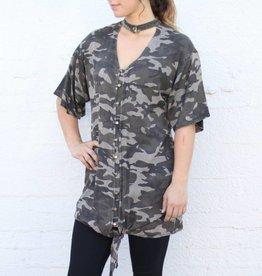Punchy's Camo Choker Button Down Dress Tunic
