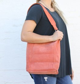 Punchy's Suede Terracotta Wide Leather Strap Bucket Bag
