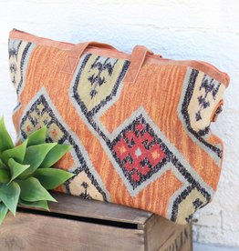 Punchy's Rust Ecot Pattern Hand Woven Weekender Bag