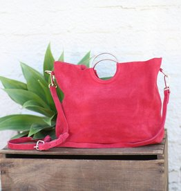 Punchy's Go For the Gold Red Suede Handbag