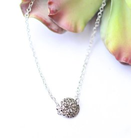 Punchy's 14in Burnished Silver With Flower Charm