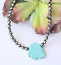 Punchy's 15in Silver Beaded Necklace with Turquoise Stone