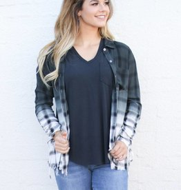 Punchy's Black and White Ombre Mineral Wash Plaid