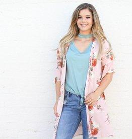 Punchy's Floral Peach Open Front Kimono