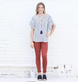 Punchy's Flowy Navy Striped Blouse