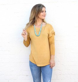 Punchy's Mustard Mineral Washed Ruffle Long Sleeve Basic Top
