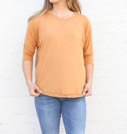 Punchy's Pumpkin 3/4 Sleeve Basic Slouchy Top