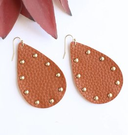 Punchy's Cognac Studded Leather Teardrop Earrings