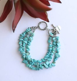 Punchy's 3 Strand Silver Turquoise Stone Bracelet