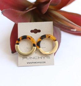 Punchy's Brown Tortoise Ring Earrings