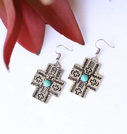 Punchy's Burnished Silver Aztec Cross Earring with Turq Accents