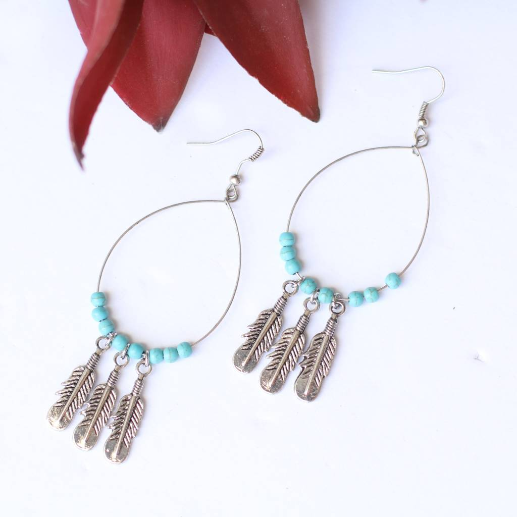 Punchy's Burnished Silver with 3 Feather and Turq Beaded Wire Teardrop Earring