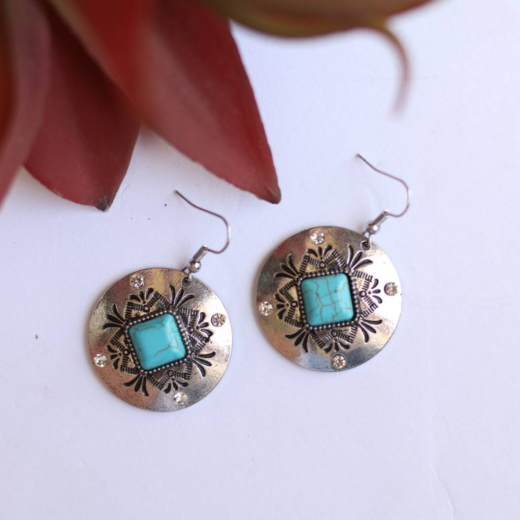 Punchy's Concho Earring with Turquoise & Rhinestones