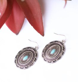 Punchy's Oval Concho Earring Single Turquoise Stone