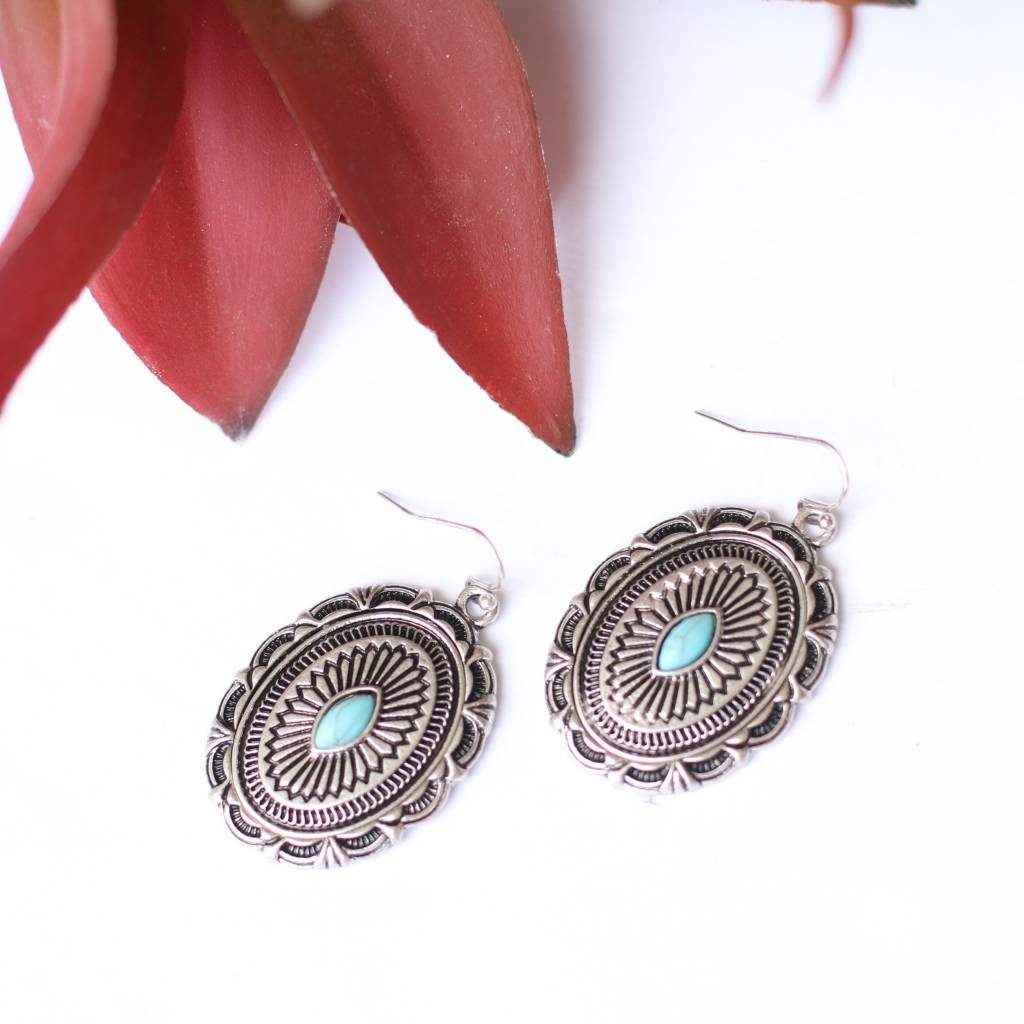 Oval Concho Earring Single Turquoise Stone