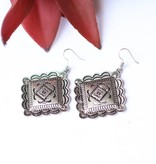 Punchy's Silver Diamond Concho Hook Earring