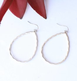 Punchy's Silver Hammered Teardrop on Hook Earring